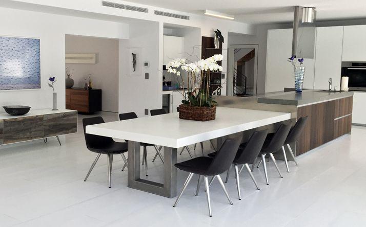 Custom Concrete Kitchen Amp Dining Tables Trueform Inside Concrete