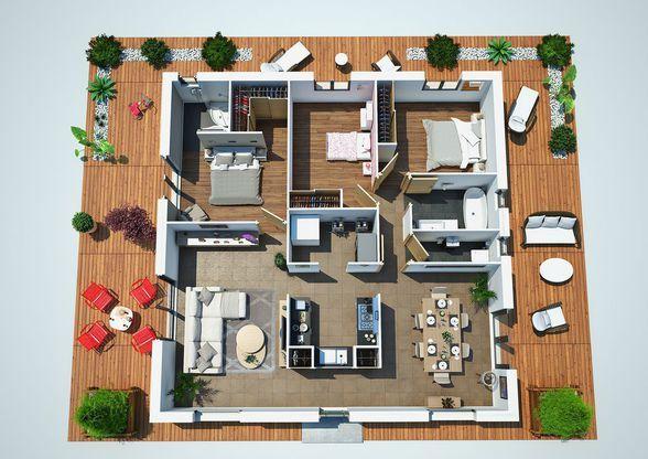 Maison Villa Dona - Couleur Villas - 109472 E Faire construire sa - plan de maison de 100m2 plein pied