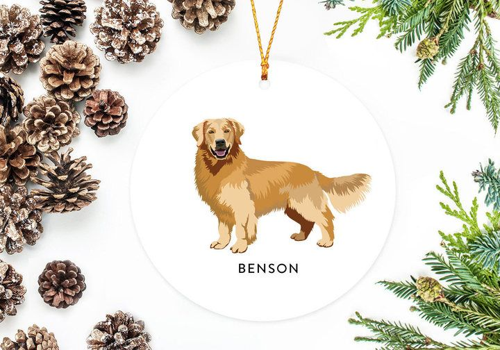 Etsy Golden Retriever Ornament Personalized Christmas Ornament