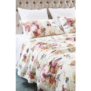Bianca Lorenne Bouquet Duck Egg Duvet Cover Set Ivory Duvet Cover
