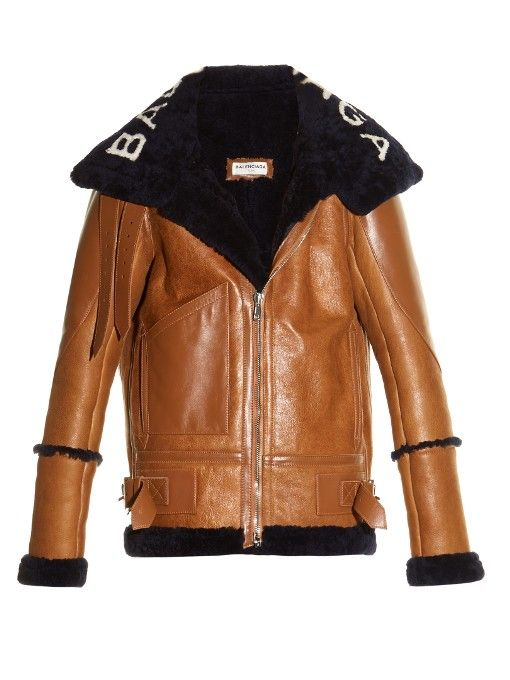 fc4f6dd10527 BALENCIAGA Logo-Collar Aviator Shearling Jacket.  balenciaga  cloth  jacket