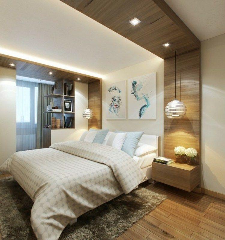 moderne deckengestaltung eine wanderweiterung aus holz mit lampen schlafzimmer ideen. Black Bedroom Furniture Sets. Home Design Ideas