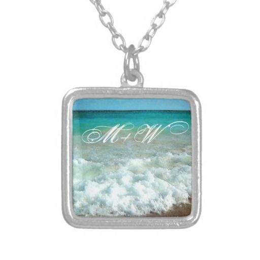 Personalized Initial Beach Watercolor Scene Hers Necklace