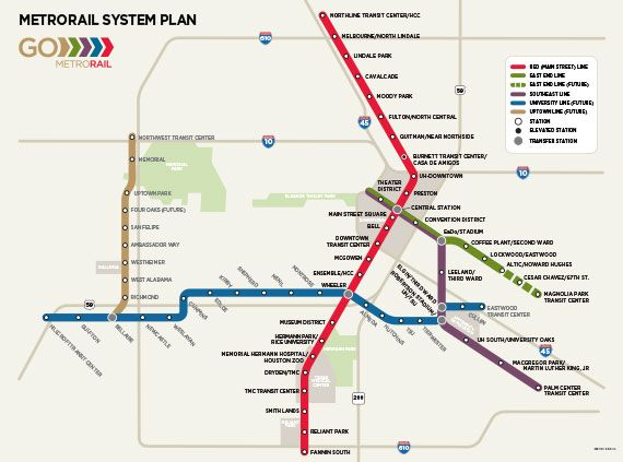 Proposed Houston Rail System Currently only the red line is built