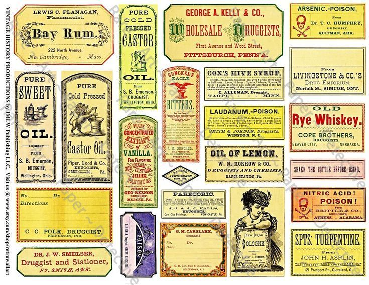 Apothecary Labels, Antique Druggist Clip Art Paper, Printed Sheet, Pharmacy Stickers, Drug Store Bottle Labels, Medicine Bottle Decal, 368N - Labels, Antique Druggist Clip Art Paper, Printed Sheet, Pharmacy Stickers, Drug Store Bottle Labels, Medicine Bottle Decal, 368N -