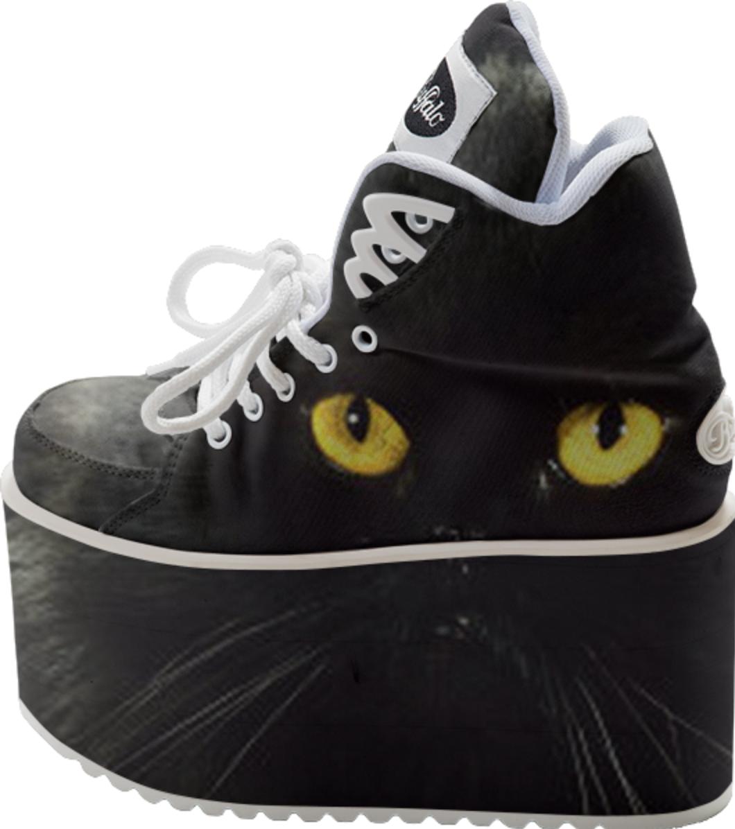 Black Cat Buffalo Platform Shoes #paom #shoes