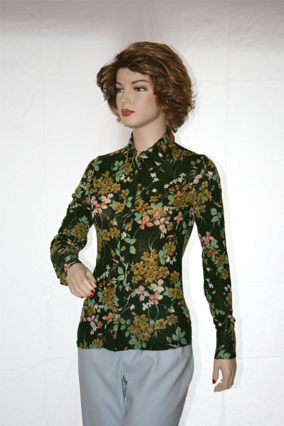 1960\'s-1970\'s Green Flowered Knit Blouse from Kmart by StudioSisu ...