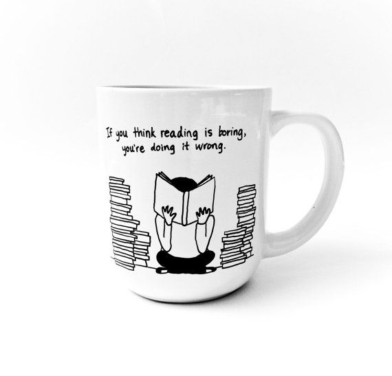 Stack of Books Mug by gnarlyink on Etsy, $16.99