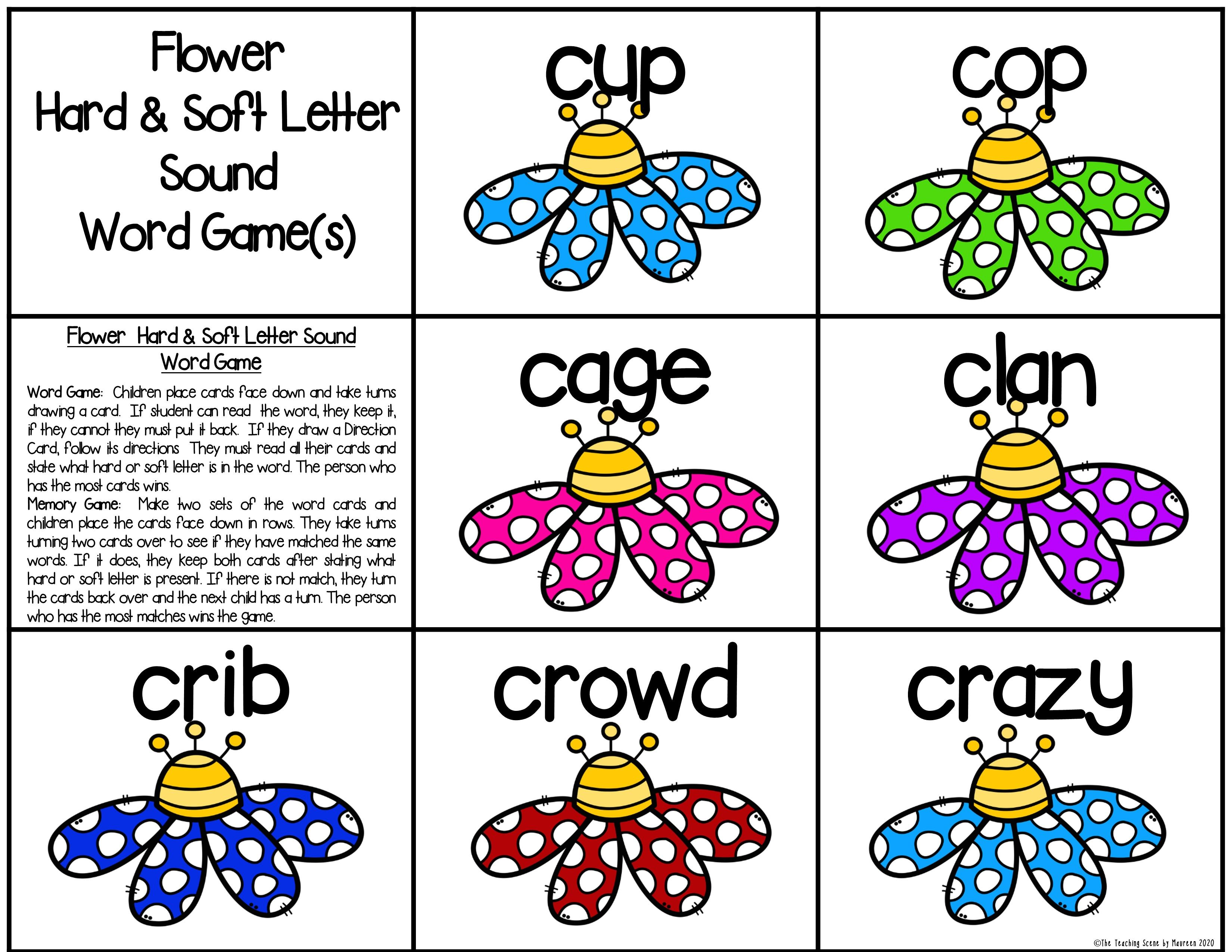 Hard Soft Letter Sounds Of C G Centers Worksheets Center Game Word Sorts Writing Sight Words