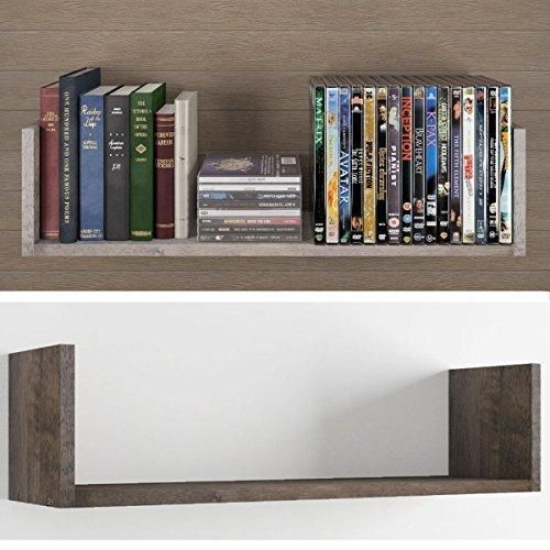 Contemporary Design U Shape Floating DVD Cd and Book Solid Wood ...