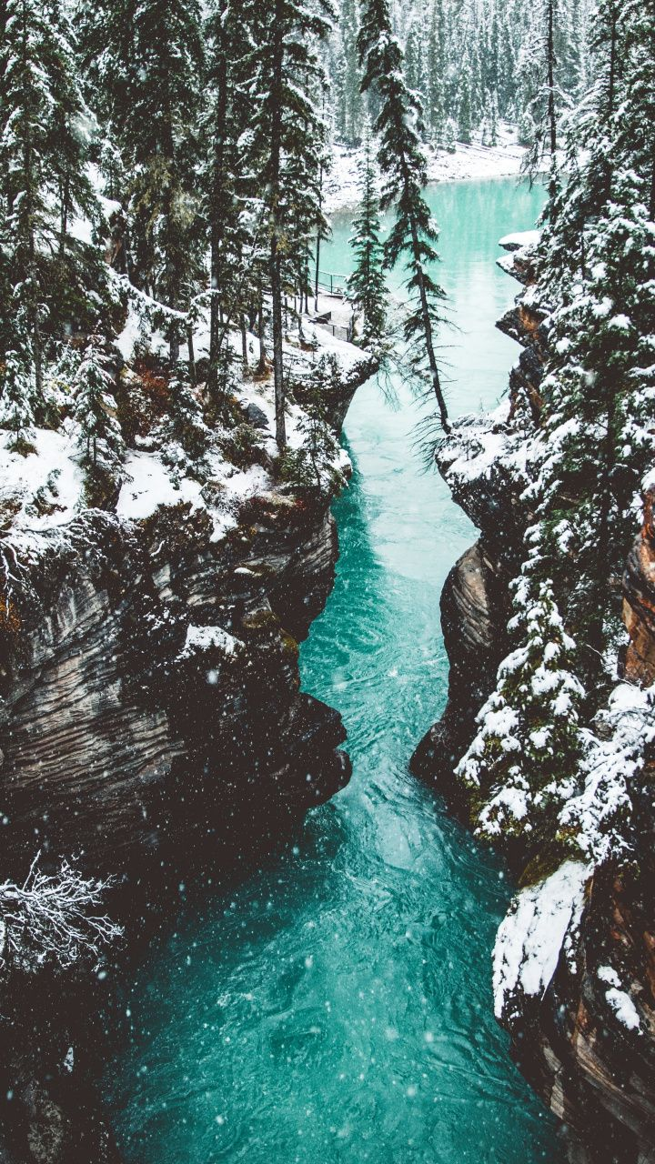 Nature, waterfall, cliff, nature, canyon, 720x1280 wallpaper