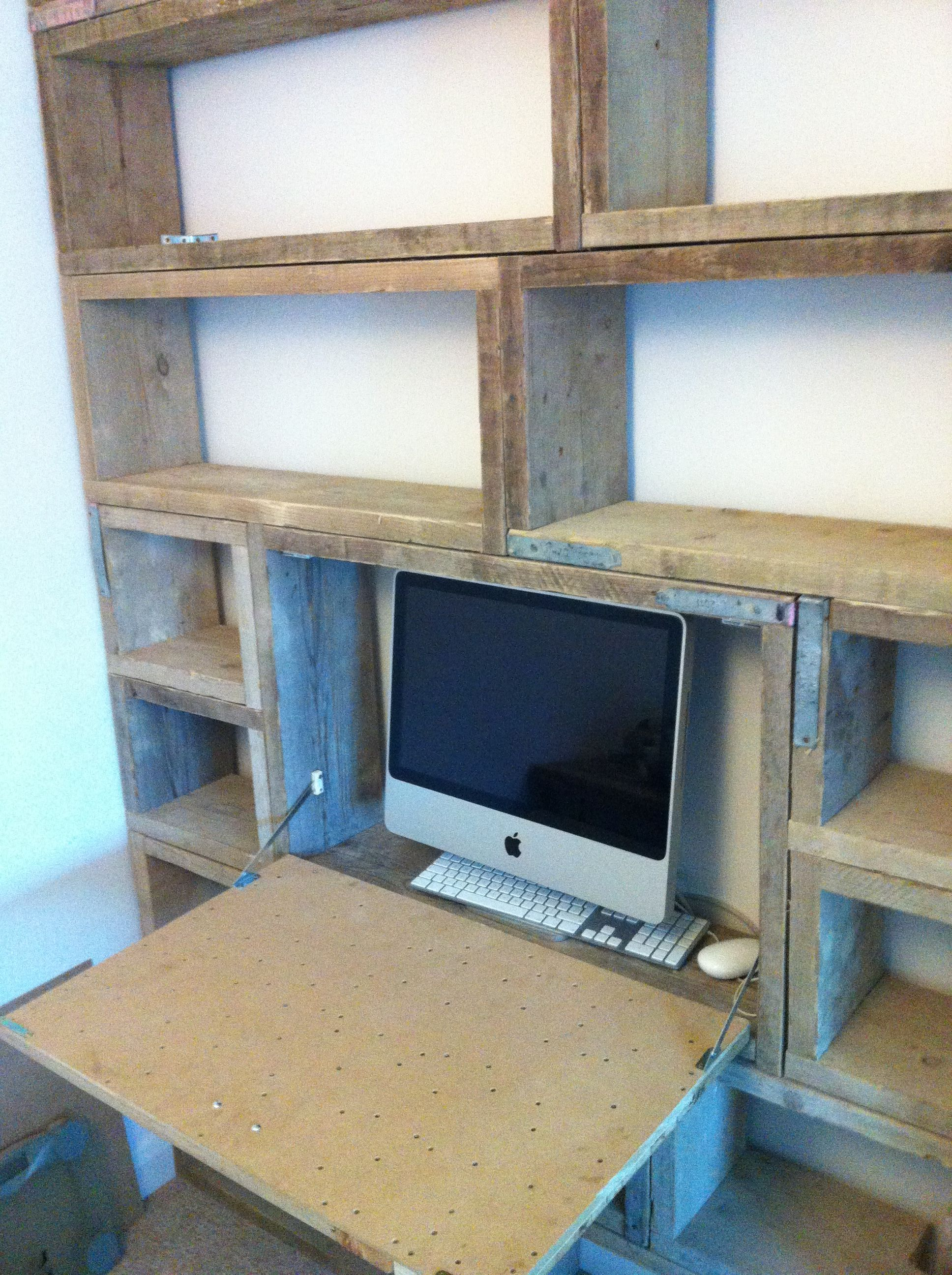 Bookcase desk made from used scaffold boards solid wood for Furniture board
