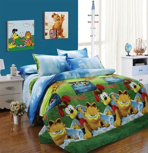 Cartoon Garfield Pattern Cotton Bedspread Bed Sheets For Double Bed Bed Sheets Bed Bed Spreads