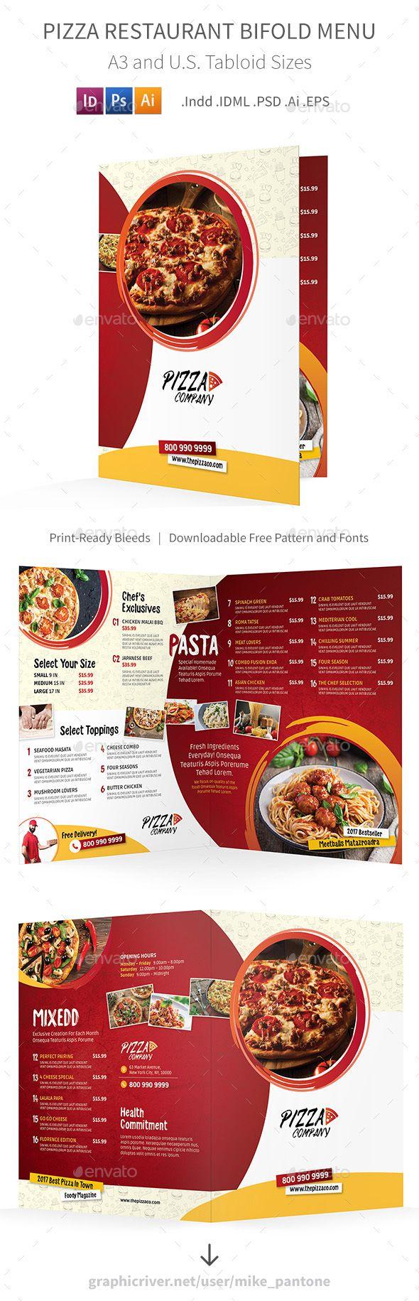 Pizza Restaurant Bifold / Halffold Menu 2 | Folletos, Suculentas y ...
