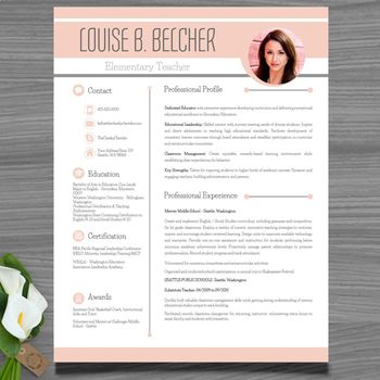 Resume Template + Cover and Reference Letter (Peach color - website resume template