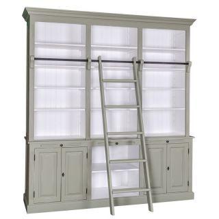 Bücherregal mit Leiter, grün, weiß, pastell, Wohnzimmer, Büro ...