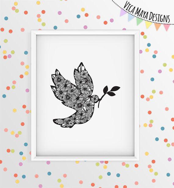Dove art, nursery art print, black and white illustration, bird art, bird…