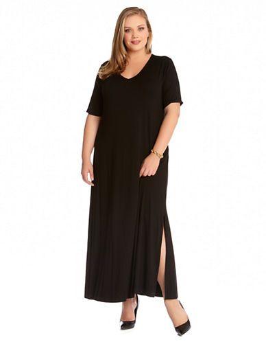 c8a8fd444ca Karen Kane Plus Size Fashion Black Plus Size V Neck T-Shirt Dress available  from Lord and Taylor  Baja  Spring 2015  Plus  Plus Size  Fashion ...