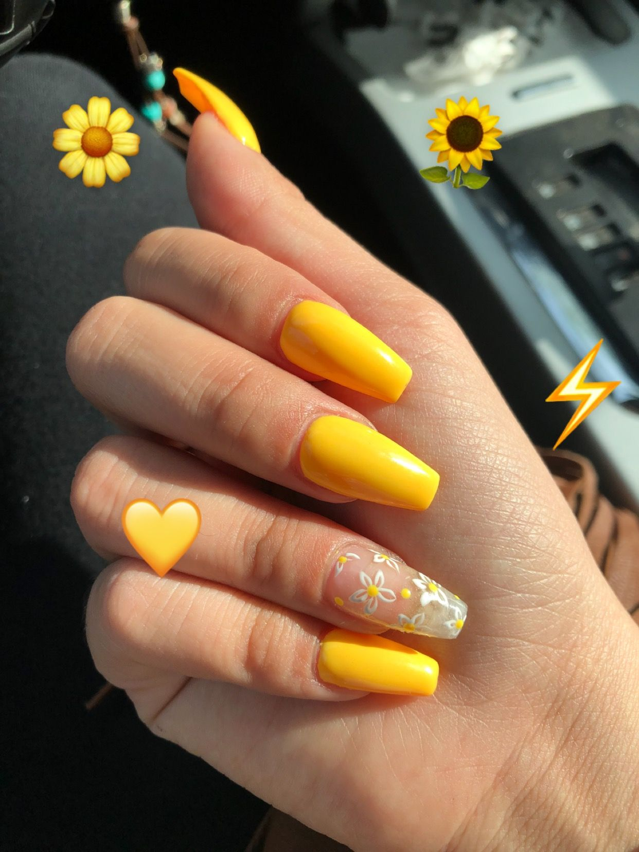 Yellow Coffin Nails Nails Coffin Nails Flower Nail Designs