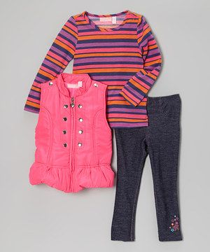With comfy silhouettes that stretch, this set is ready for some yippy-skippy fun. Primed for play and prettily prepared, all three separates are great to mix-and-match.