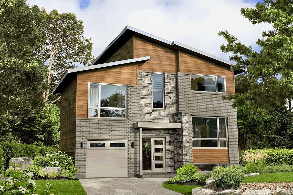 Plan 80946PM Modern MultiStory House Plan with Bonus