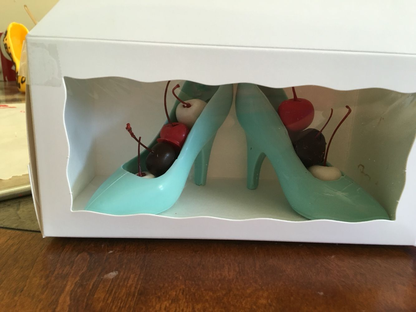 Edible chocolate high heels with dipped fruit