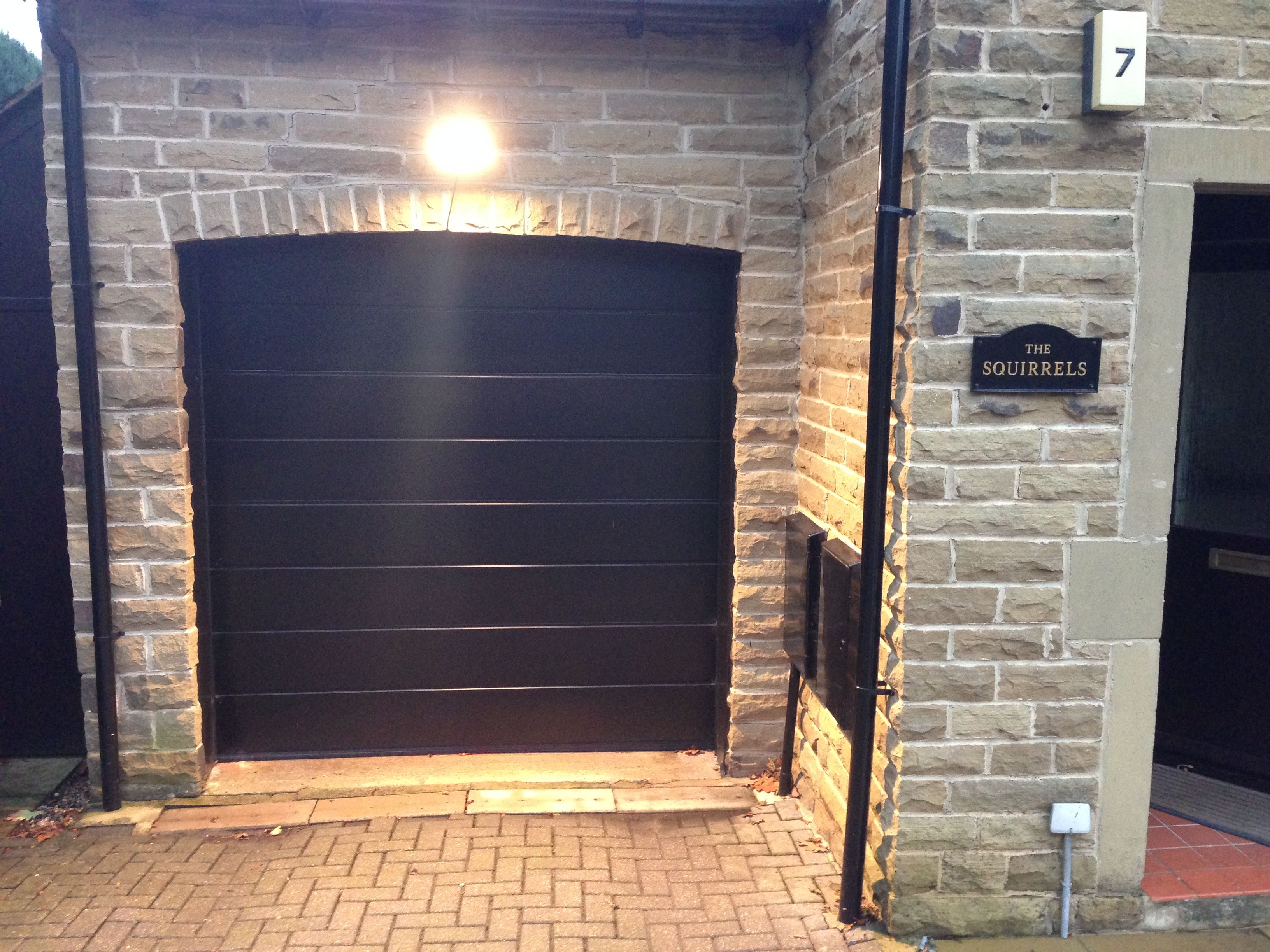 Hormann m rib sectional garagedoor in black ideas for the sectional garage doors are available in a number of construction materials including steel aluminium and solid timber they offer high levels of thermal rubansaba