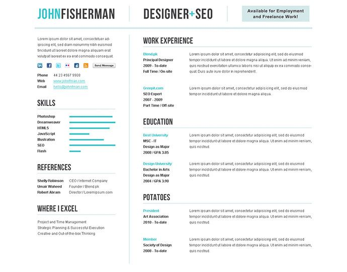 50 Professional HTML Resume Templates Cv resume template, Resume - front end developer resume