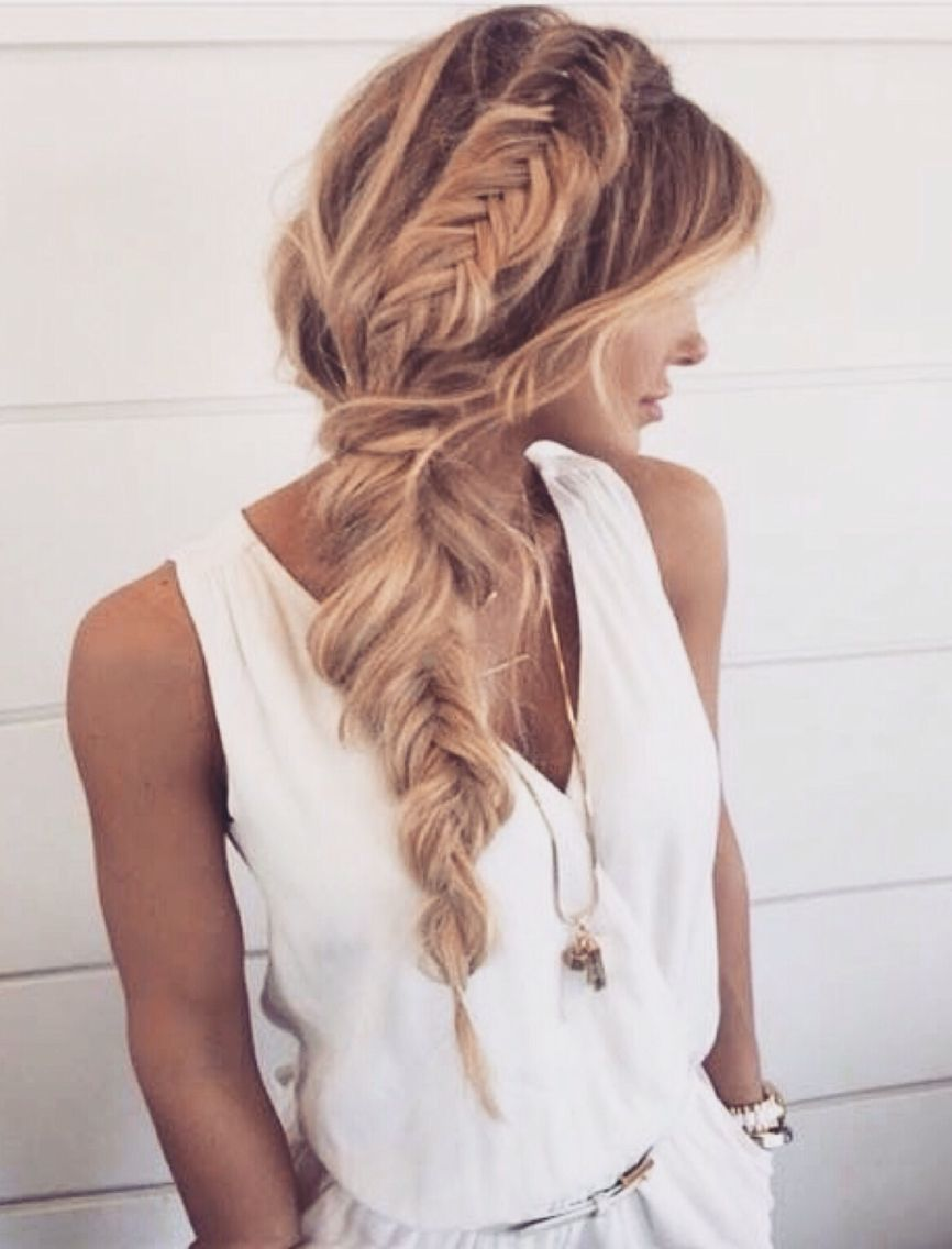Loose Side Braid Fishtail Hair Styles Long Hair Styles Messy Hairstyles