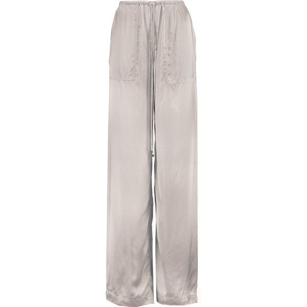Amanda Wakeley Satin wide-leg pants ($190) ❤ liked on Polyvore featuring pants, light gray, high-waisted trousers, petite pull on pants, high-waist trousers, satin pants and wide-leg pants
