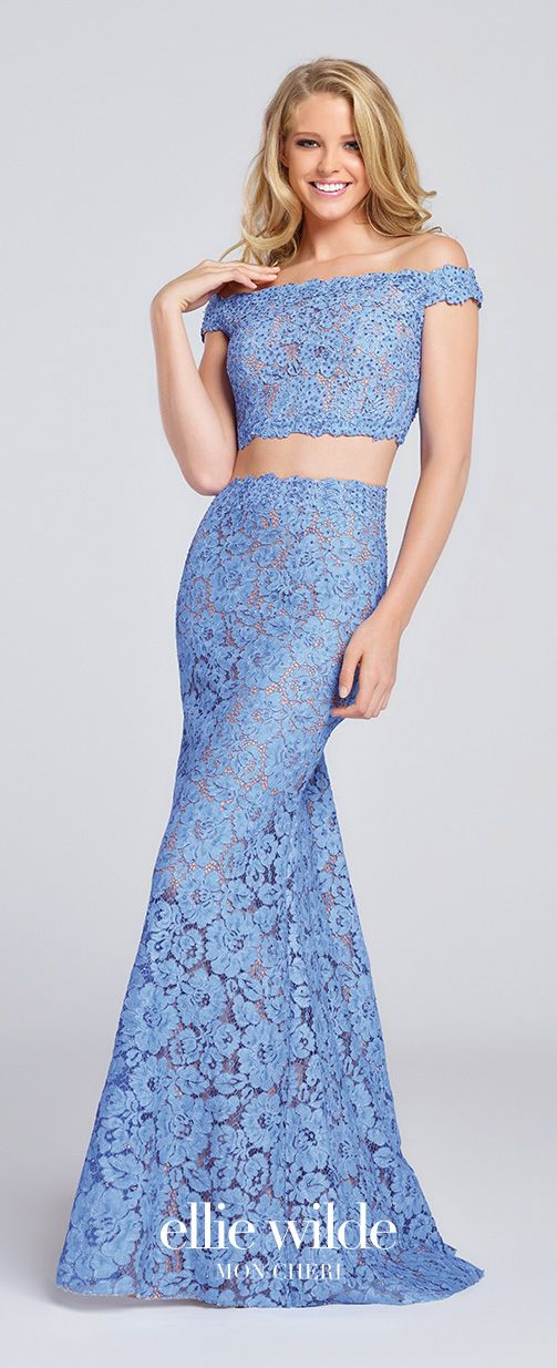 36a3a6dbdd8 Prom Dresses 2017 - Ellie Wilde for Mon Cheri - two-piece periwinkle lace  prom dress - Style No. EW117064