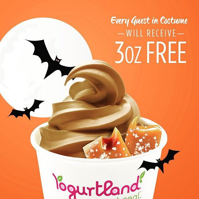 "@yogurtlandpasadena's photo: ""After you go trick or treating on Halloween, why not grab some froyo? On Saturday, 10/31, every guest in costume receives 3oz off their purchase! Just mention this post to our cashier    #yogurtland #boo #halloween #costume #fall"""