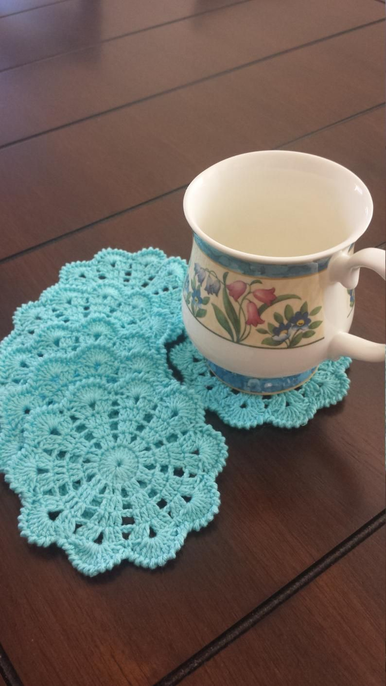Crochet Coasters - Drink Coasters - Doily Coaster Set - Handmade Coasters - Cottage Style Decor - Rustic Decor-Discs #crochetdoilies