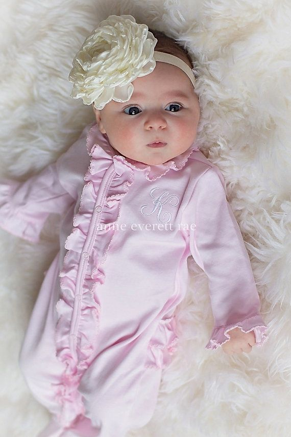 248e413e5 Baby Girl Coming Home Outfit Lucy s Pink Ruffled by AnneEverettRae ...