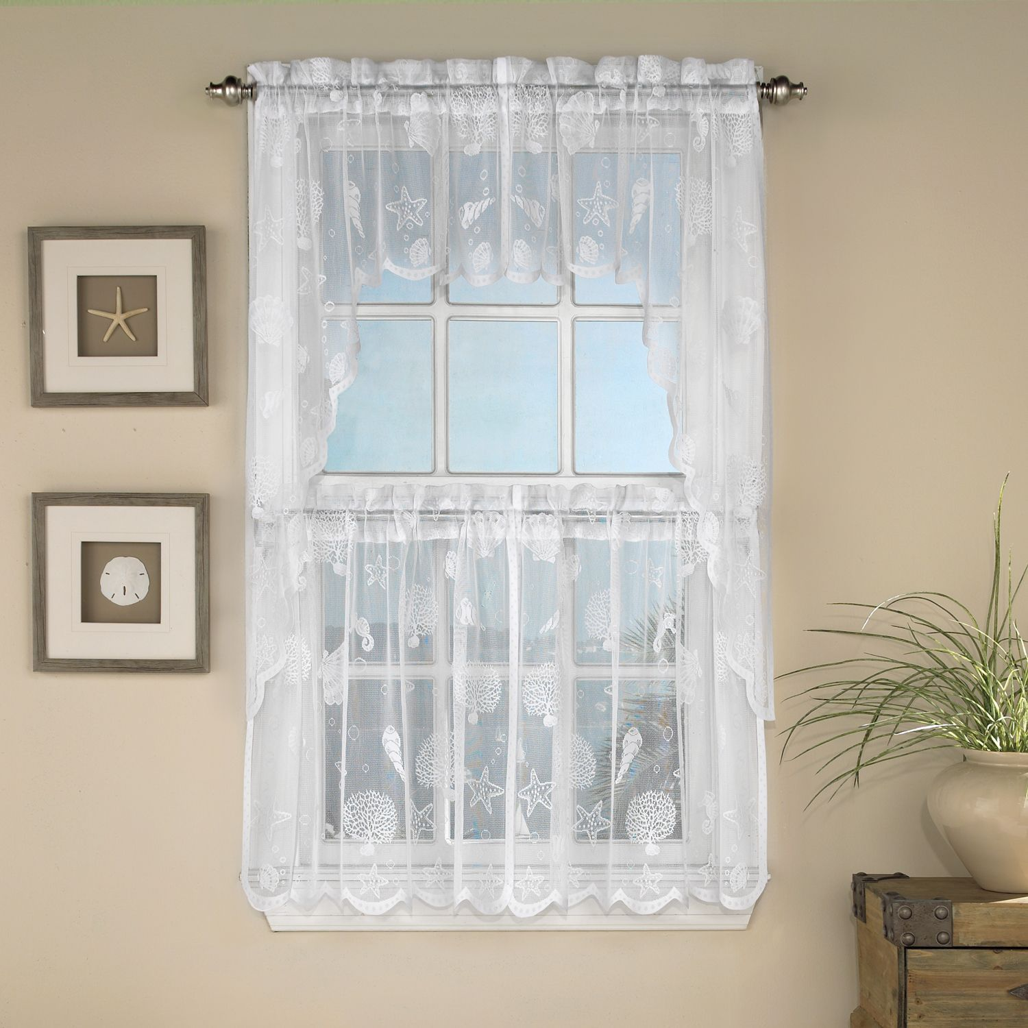 Marine Life Motif Knitted Lace Window Curtain Pieces Valance Ivory Beige Off White Size 56 X 12 All Polyester Wildlife