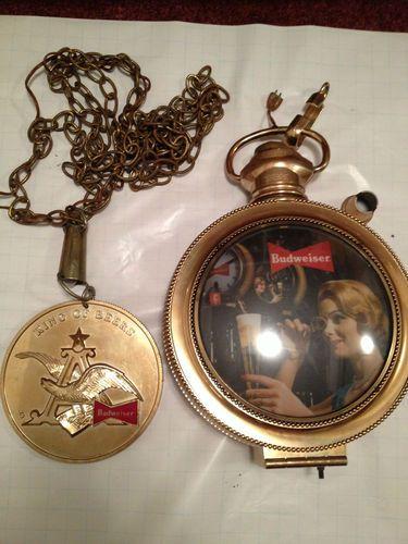 1959 budweiser synchron pocket watch clock bar light vintage 1959 budweiser synchron pocket watch clock bar light vintage anheuser busch ebay mozeypictures Images