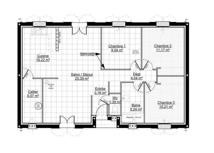 rsultat de recherche dimages pour plan de maison plain pied gratuit 3 chambres - Plan De Maison De 100m2 Plein Pied