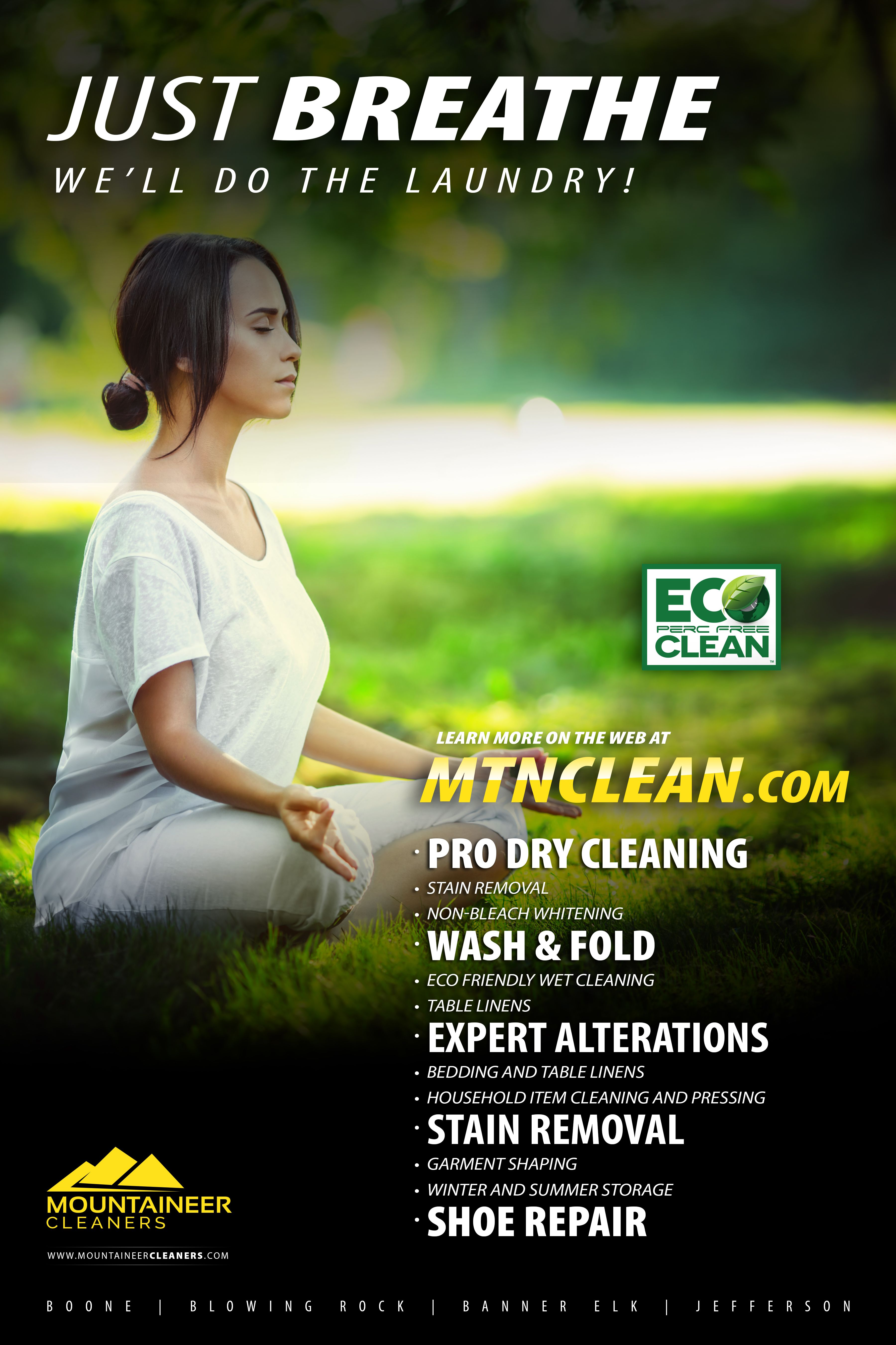 Mountaineer Cleaners Environmentally Friendly Dry Cleaning Poster Design Wash And Fold Poster Design Laundry Alternative