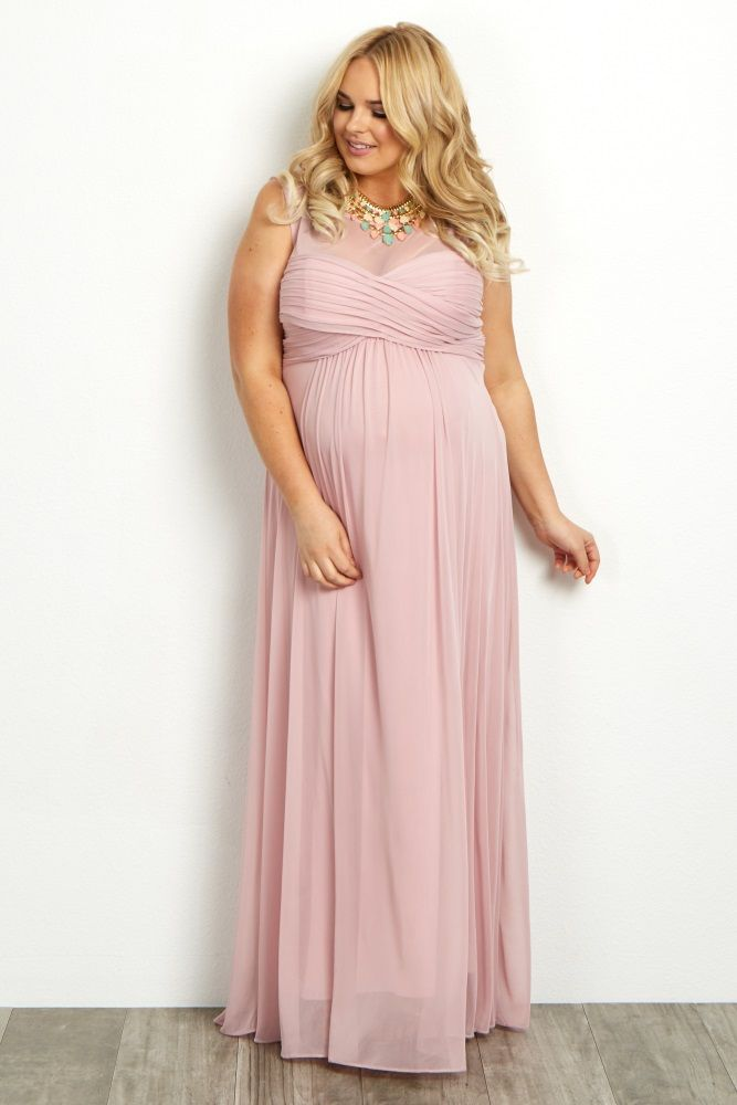 48ca6a9e563d7 Light Pink Mesh Neckline Ruched Bust Plus Size Maternity Evening Gown