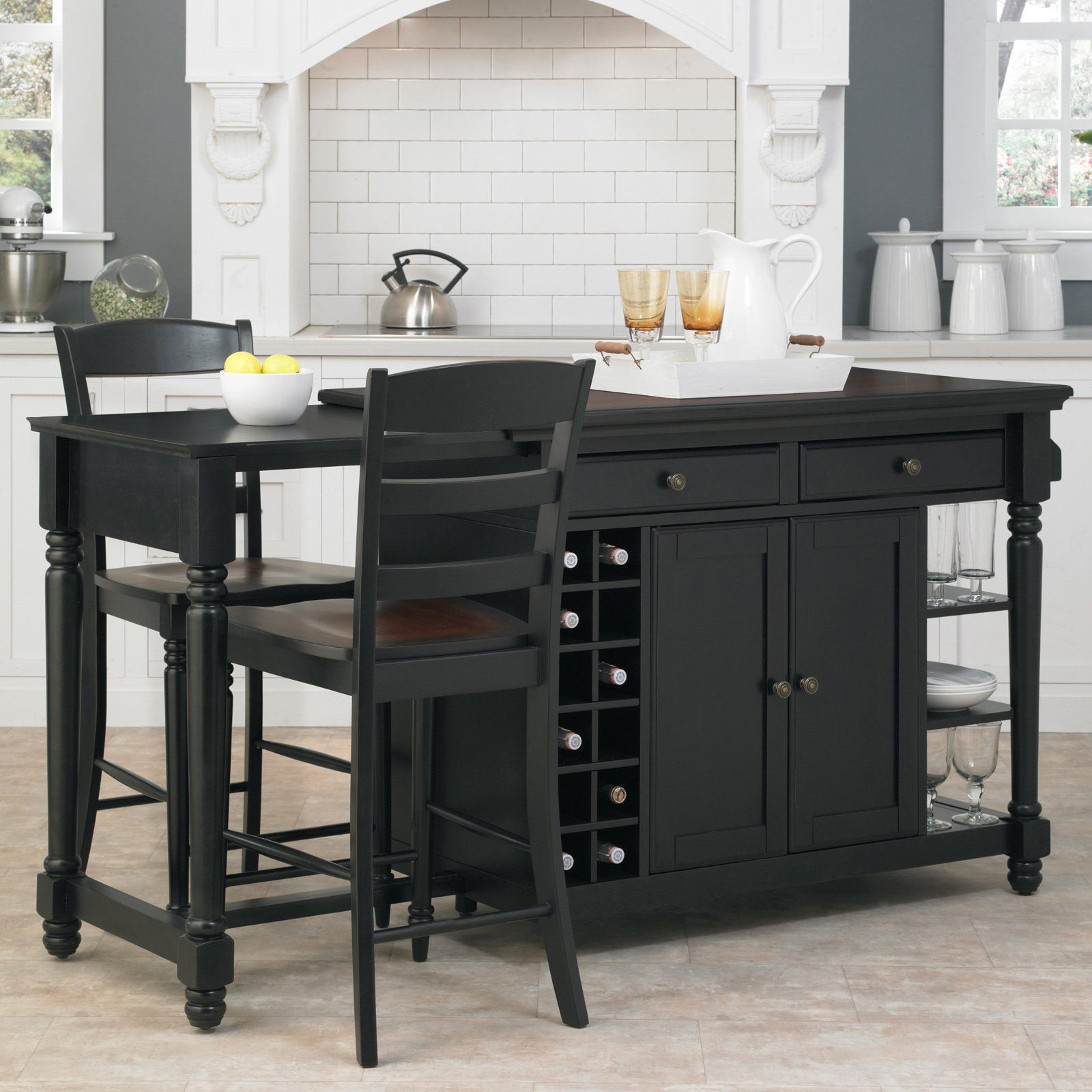 Home Styles Grand Torino 3 piece Kitchen Island & Stools Set - 5012 ...