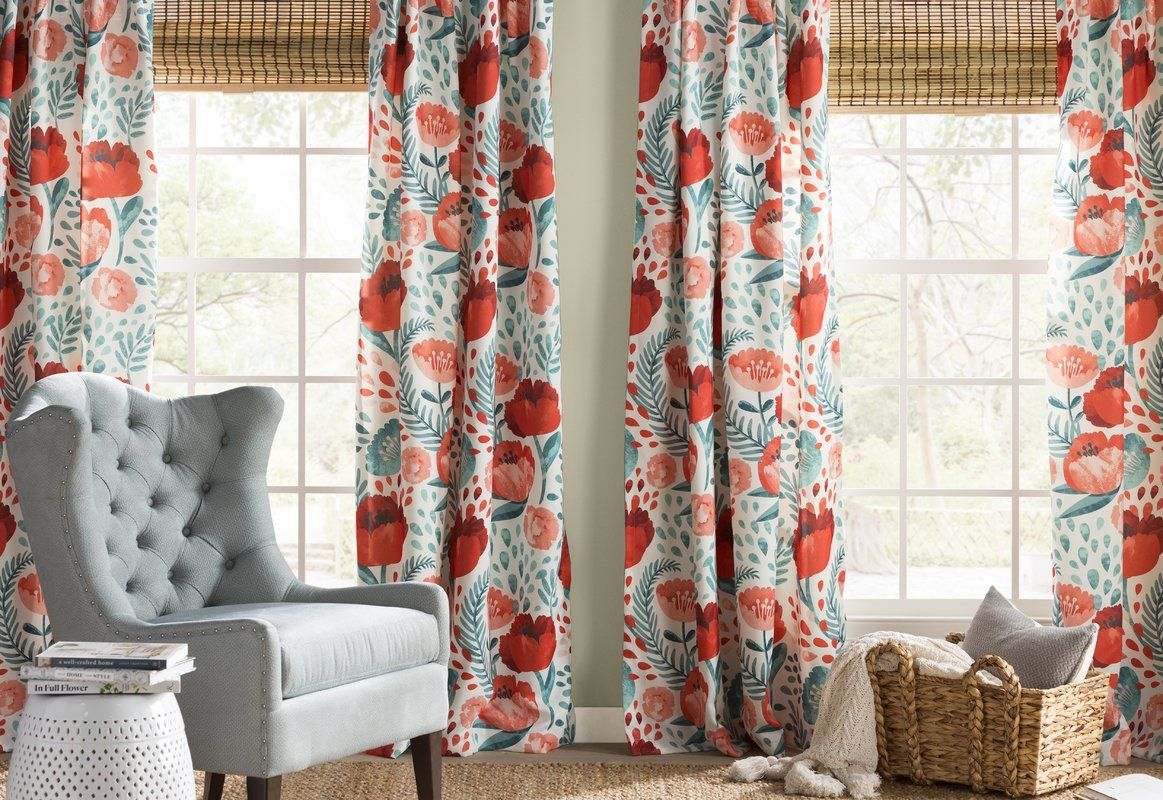 Bryonhall Poppy Garden Room Darkening Rod Pocket Curtain Panels Reviews Allmodern Colorful Curtains Bright Living Room Eclectic Curtains
