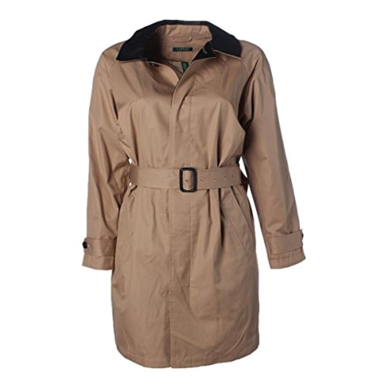 Lauren Ralph Lauren Womens Plus Faux Leather Long Sleeves Trench Coat Tan 1X - Brought to you by Avarsha.com