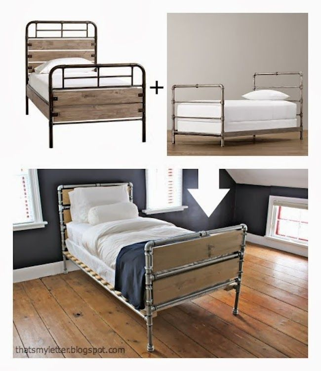 DIY Plumbing Pipe Bed Frame   Industrial Plumber s Pipe   Pinterest     I like the RH bed they used as inspiration  This site has a good example of  how to do the slats