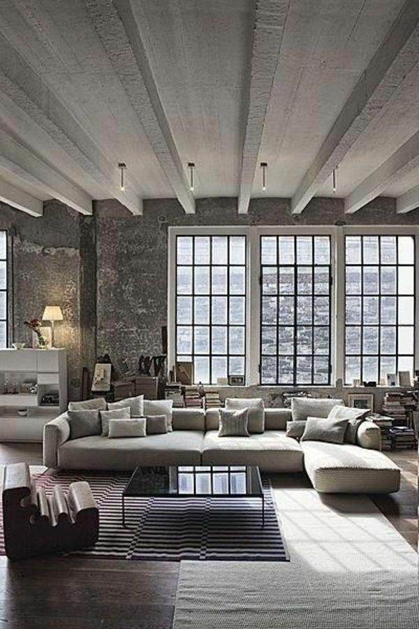 Einrichtungsideen Beton Wohnzimmer Möbel Modern Dunkel