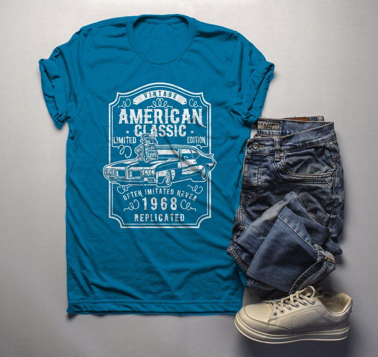 b12990da3 Men's 1968 T Shirt American Classic Shirts Muscle Car TShirt Graphic Tee  50th Birthday