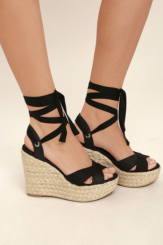 Esme Black Lace-Up Espadrille Wedges