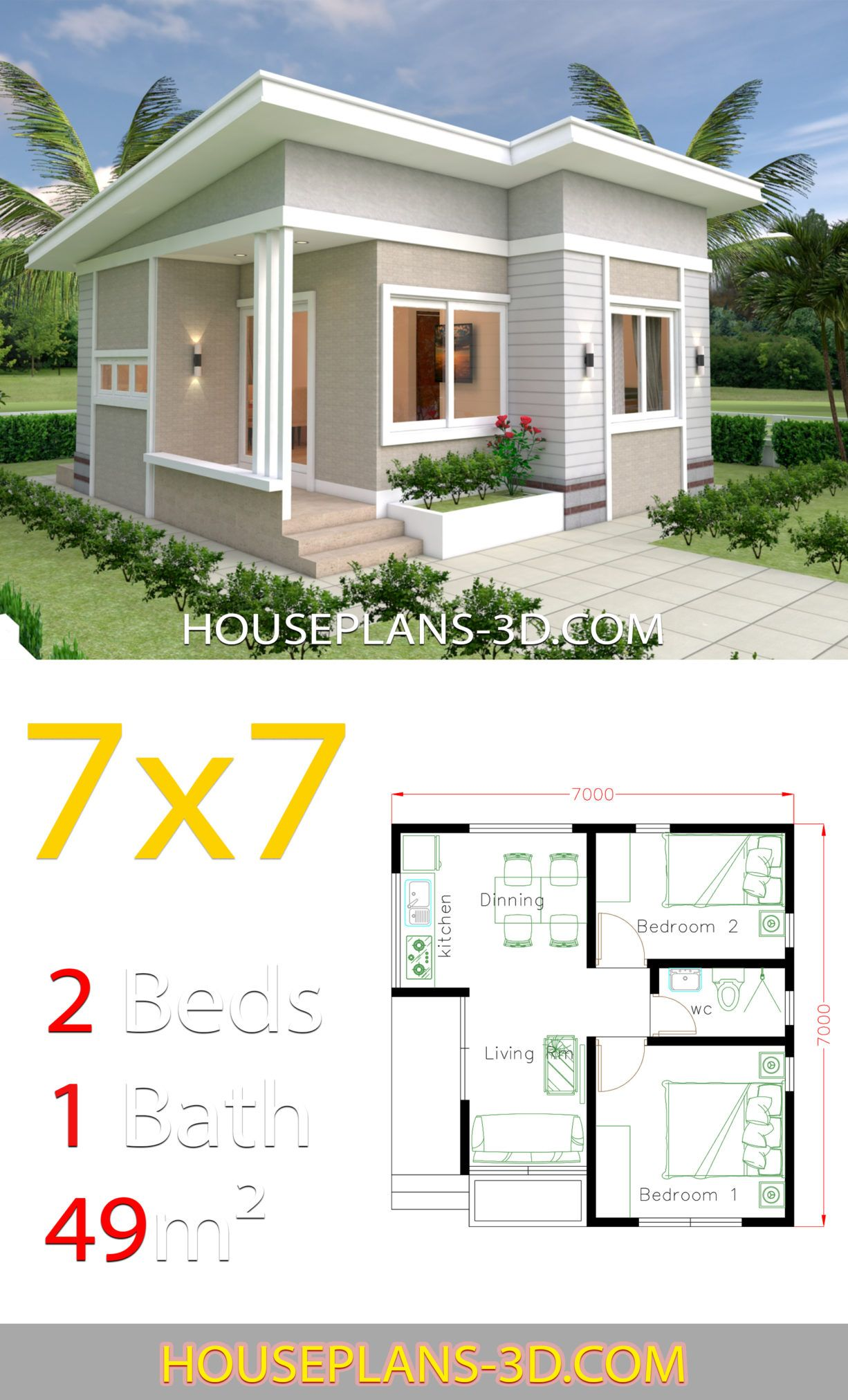 Small House Design 7x7 With 2 Bedrooms House Plans 3d Small House Design Plans House Plans Small House Layout