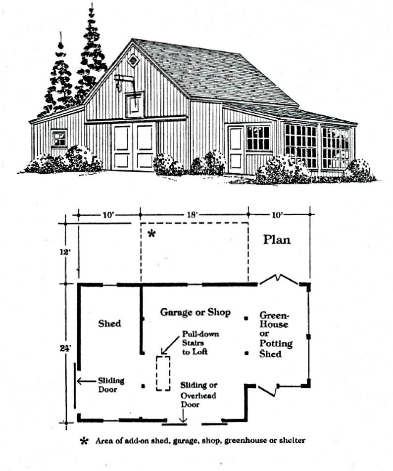 6 Gardeners Barn And Garage Designs Six Layouts Etsy In 2021 Building A Pole Barn Garage Design Barn Layout