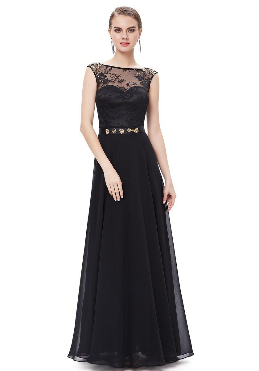 Jewel floor length black chiffon sheathcolumn evening dress