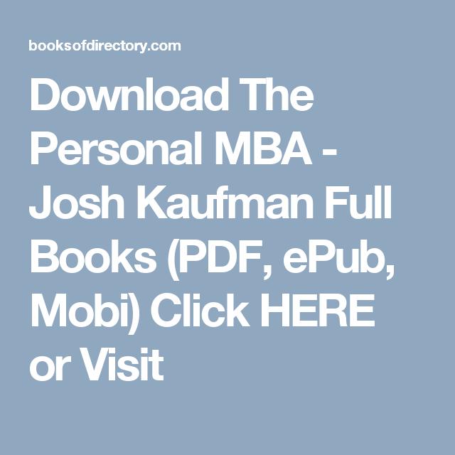 Download The Personal MBA - Josh Kaufman Full Books (PDF
